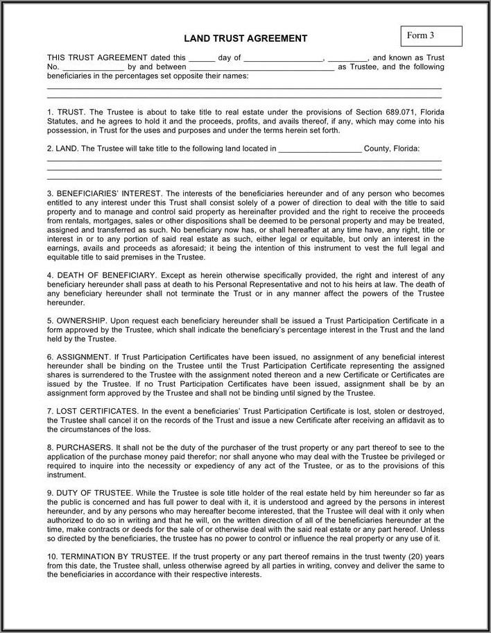 Florida Revocable Trust Amendment Form