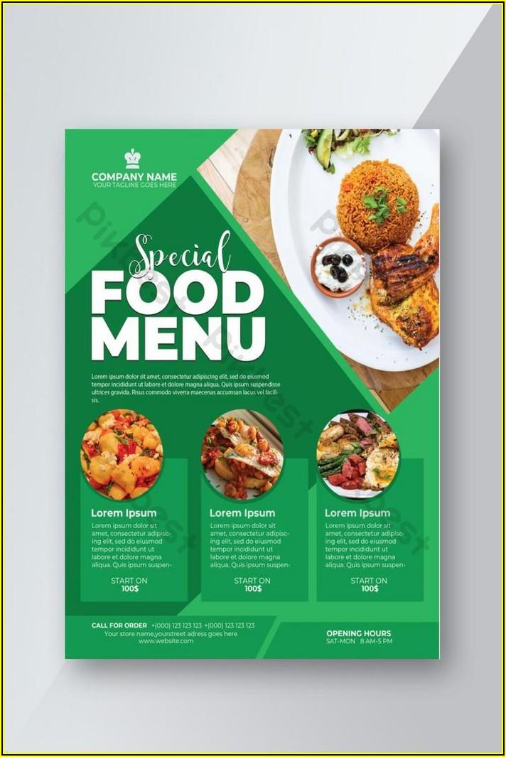 Food Menu Design Template Free Download