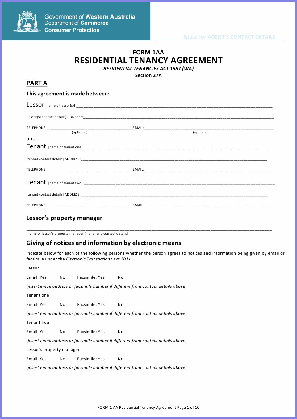 Form 2.1 Lease Agreement