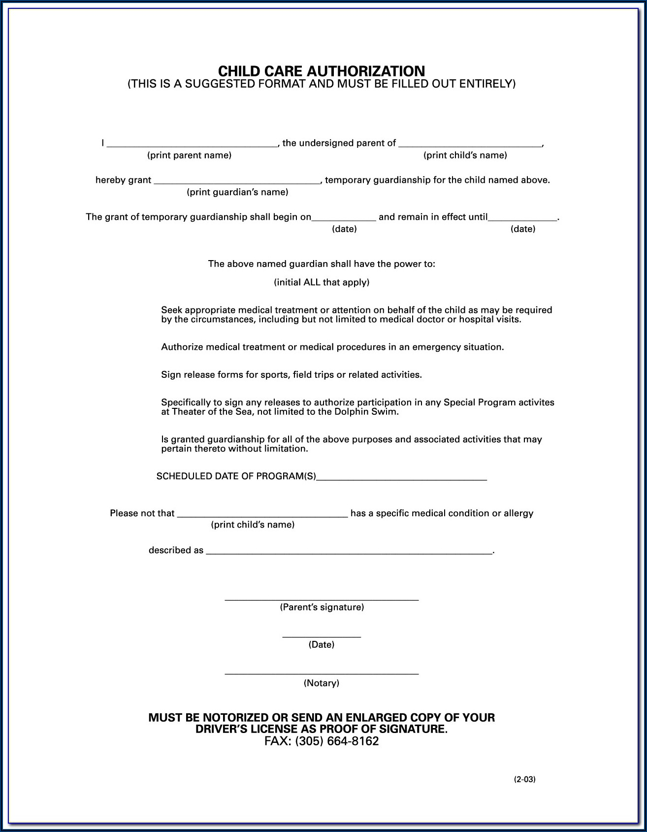 Form For Legal Guardianship Of A Child
