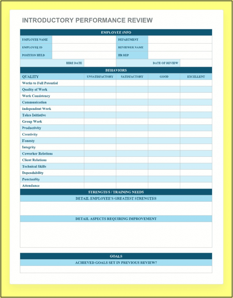 Free 90 Day Employee Performance Evaluation Template