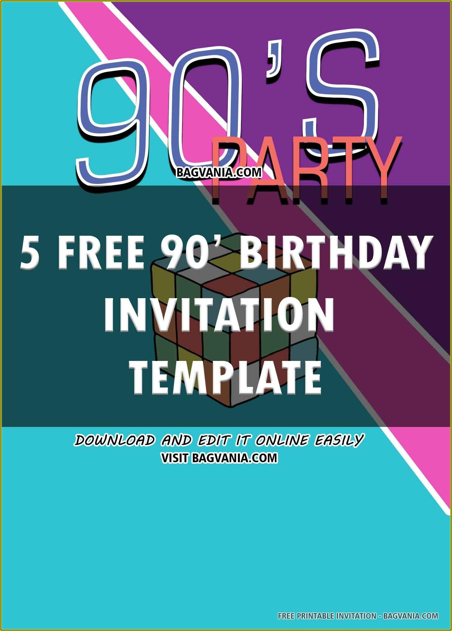 Free 90's Birthday Invitation Templates