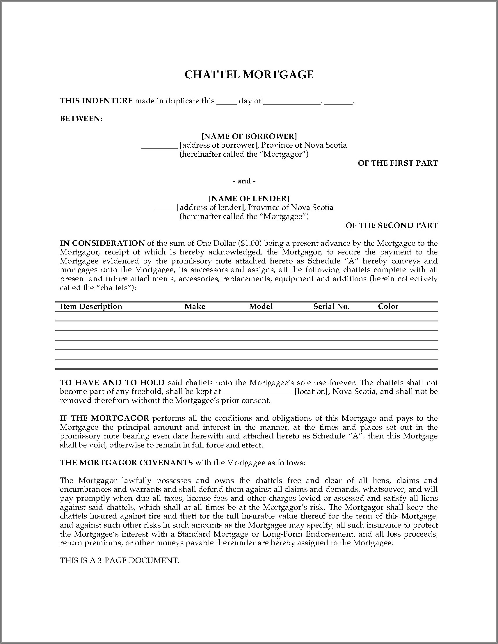 Free Chattel Mortgage Form