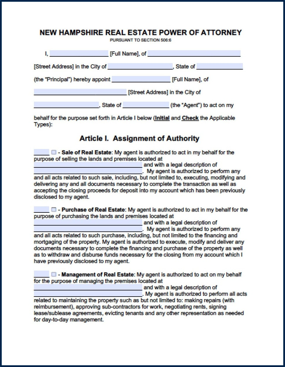 Free Durable Power Of Attorney Form Nh