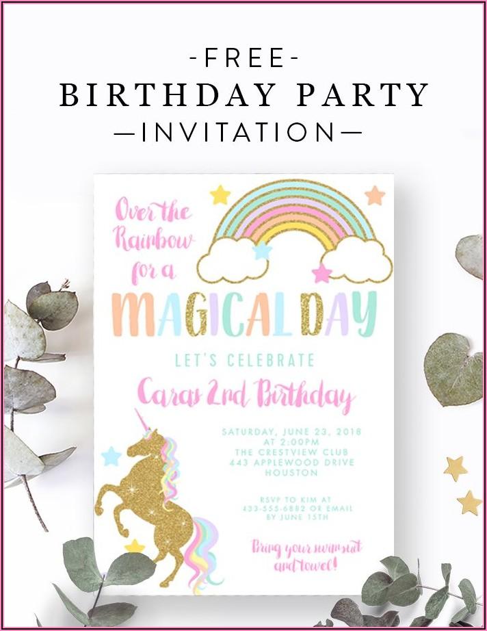Free Editable Unicorn Birthday Invitations