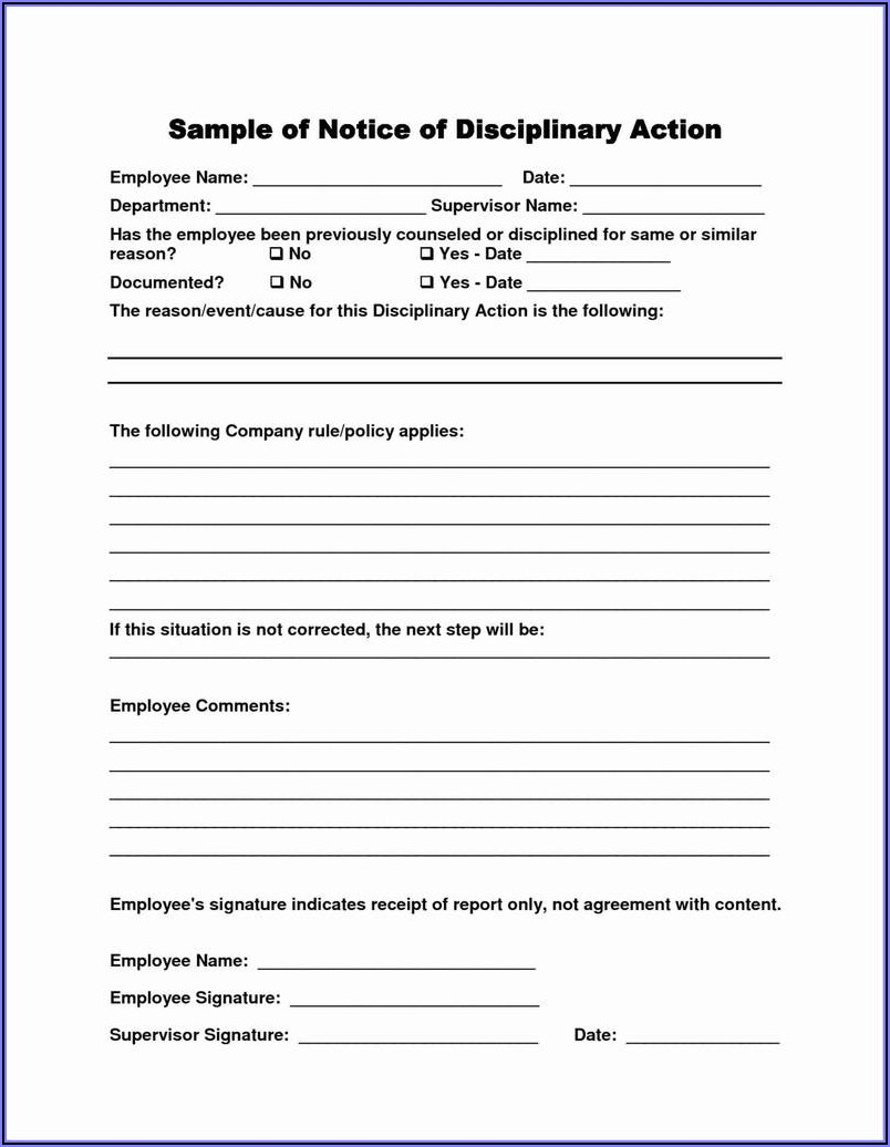 Free Employee Discipline Form Pdf