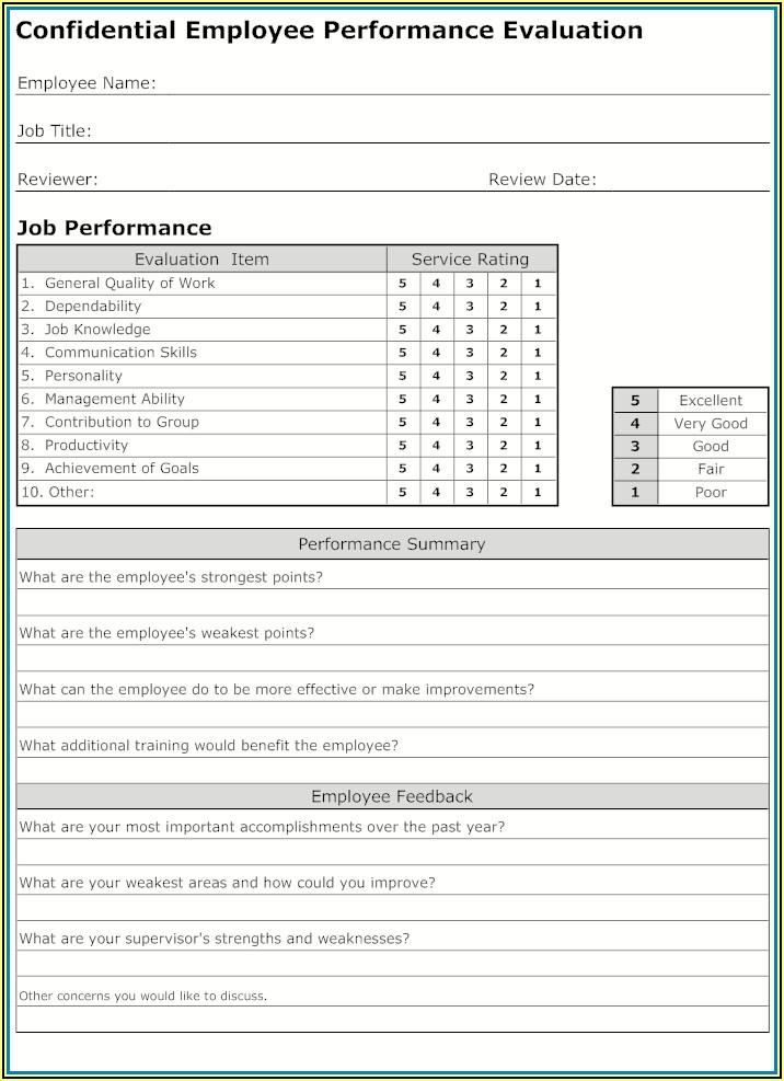 Free Employee Performance Evaluation Form