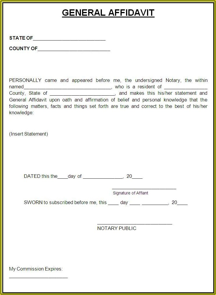Free General Affidavit Template Word South Africa