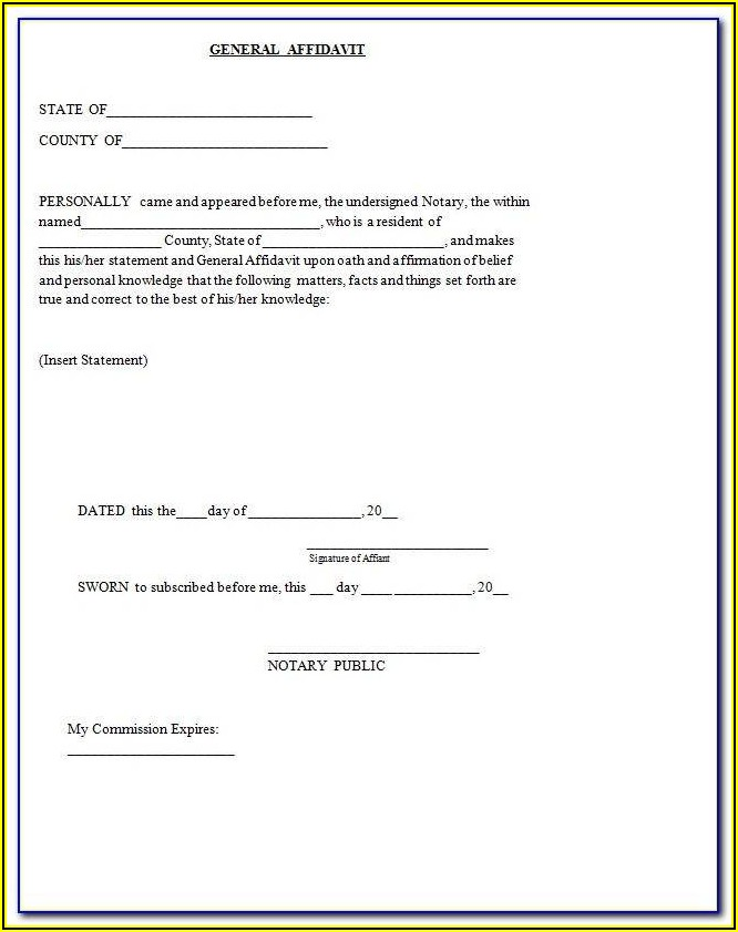Free General Affidavit Template Word