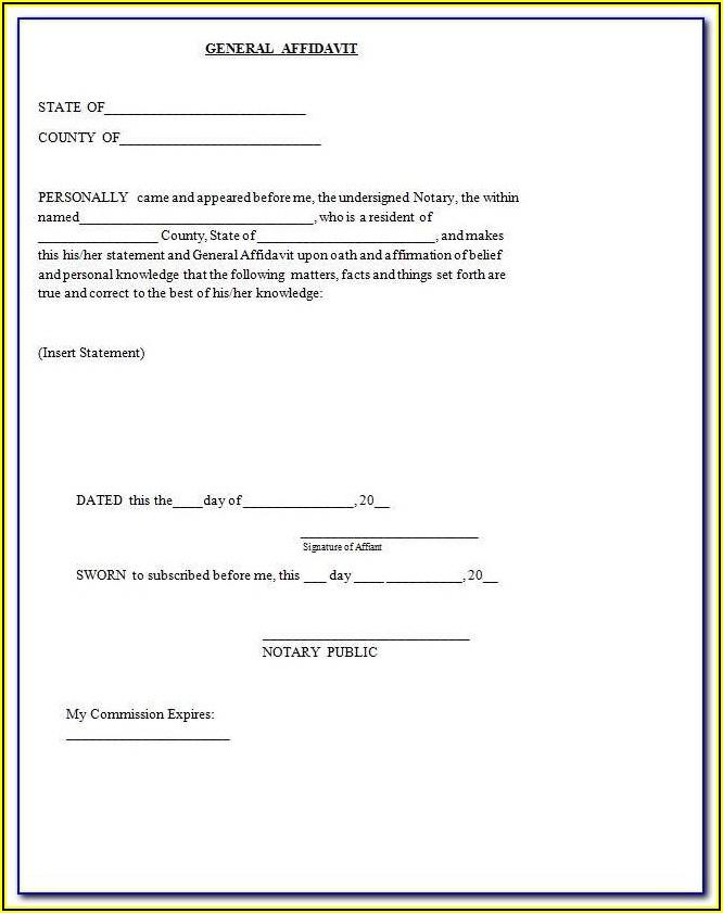 Free General Affidavit Template