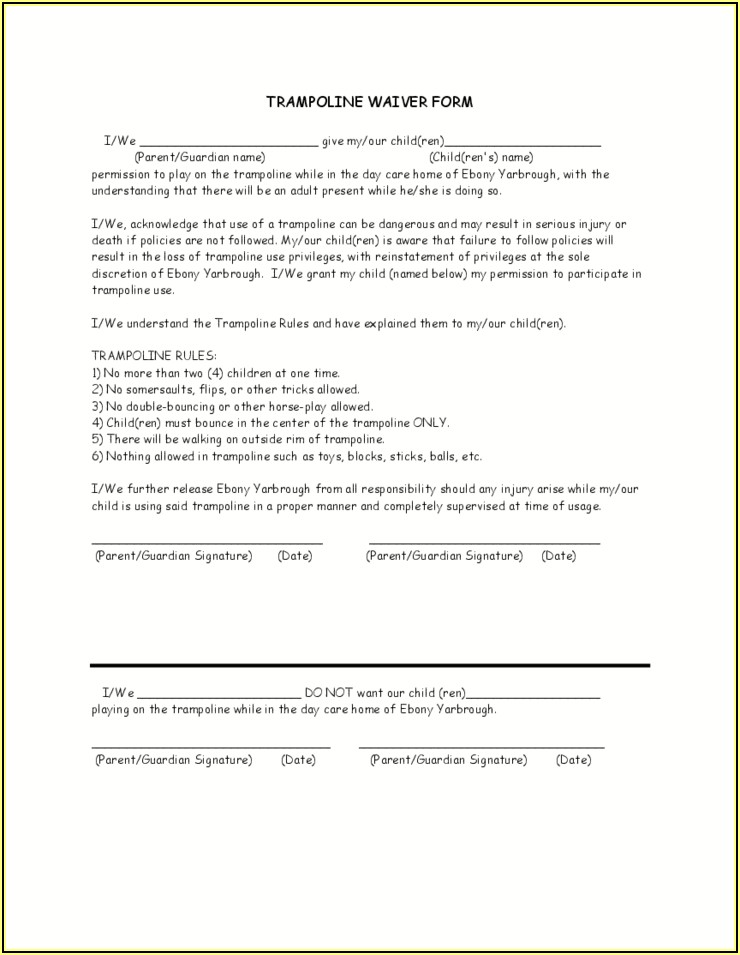 Free Landlord Trampoline Waiver Form