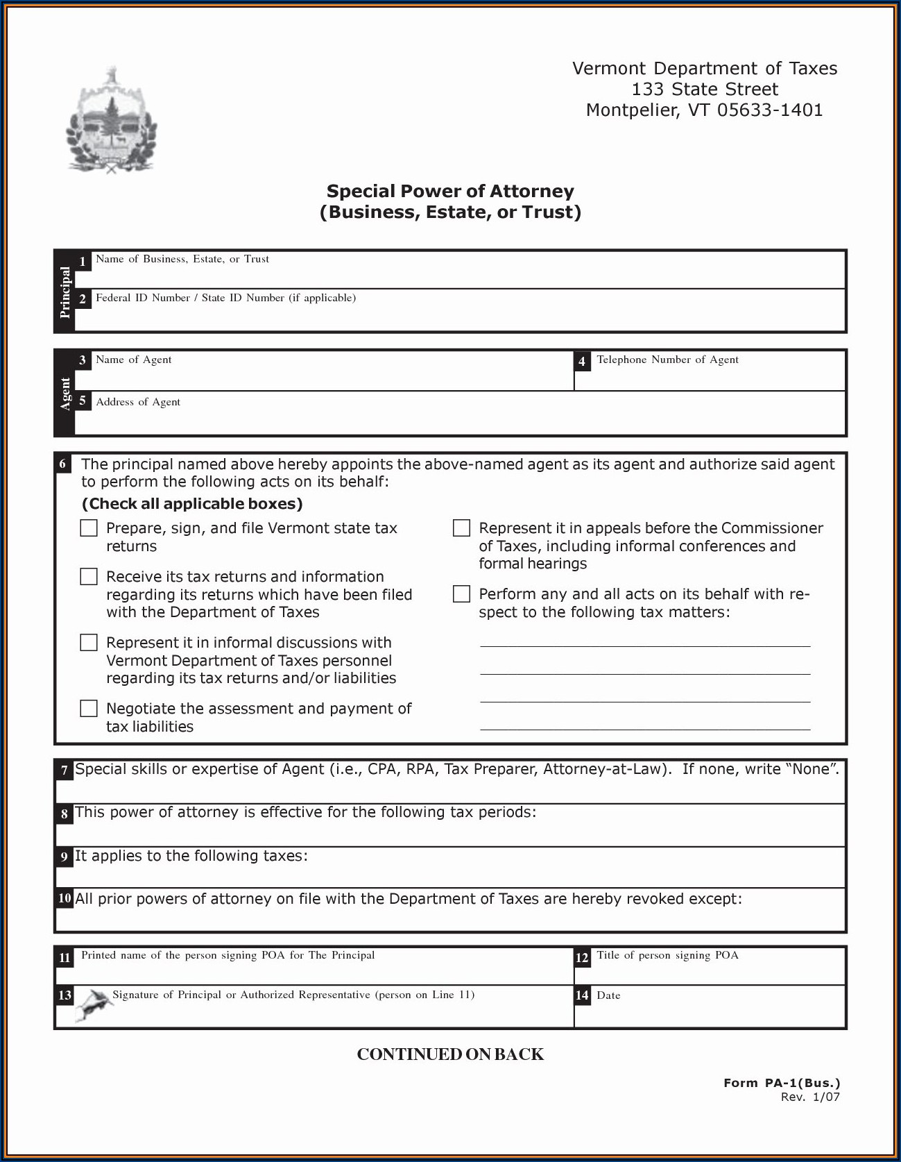Free Power Of Attorney Form