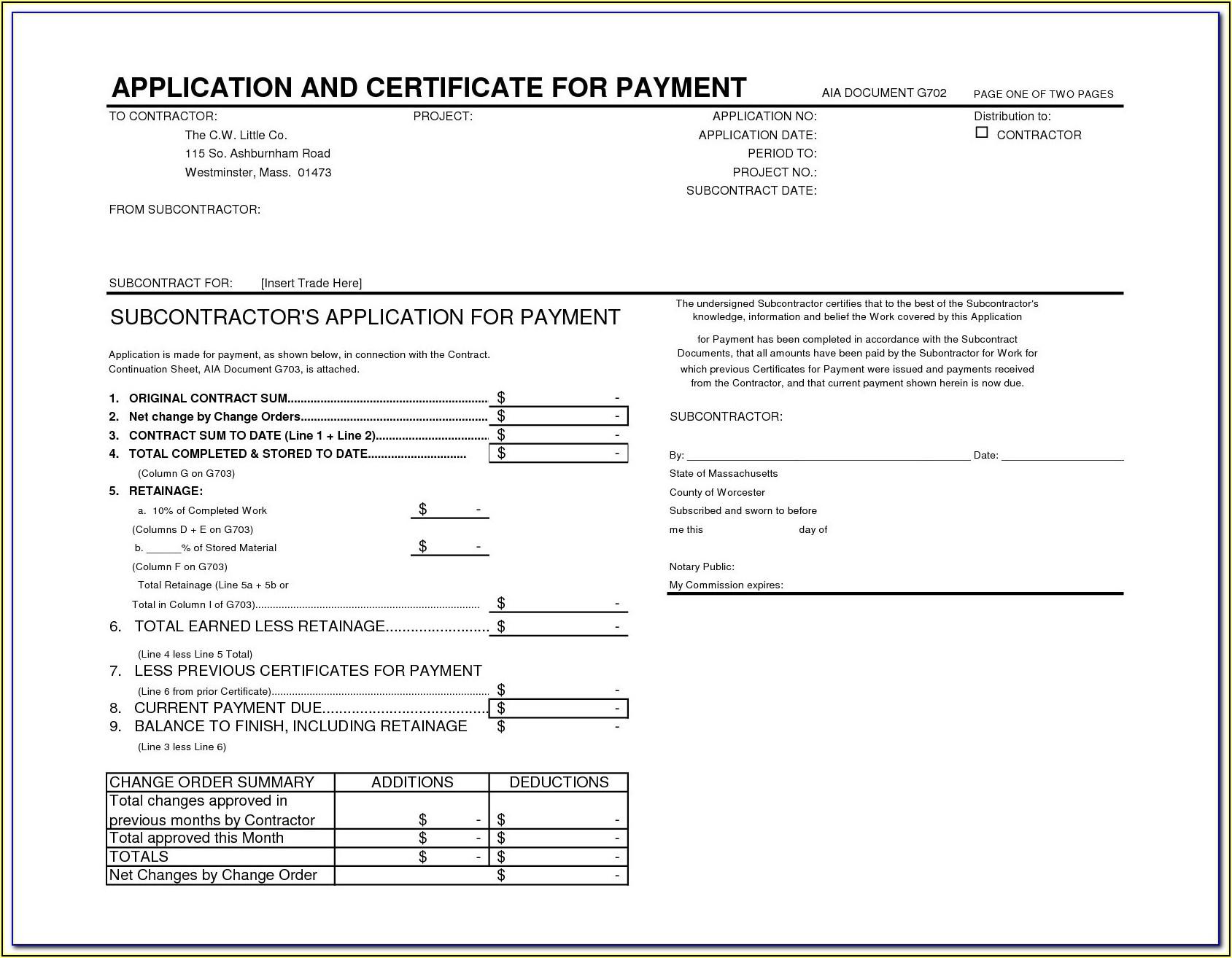 Free Printable Aia G702 Form