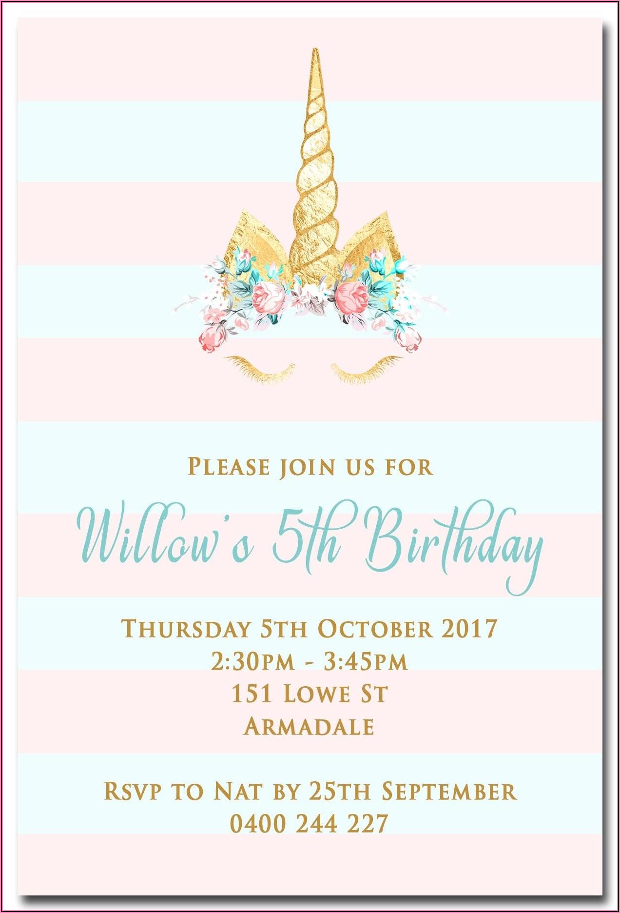 Free Printable Birthday Party Invitations Unicorn