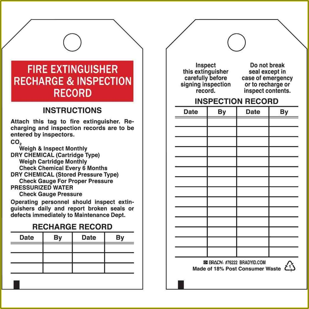 Free Printable Fire Extinguisher Inspection Tags Template Pdf
