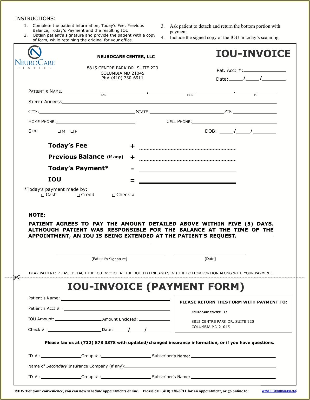 Free Printable Iou Forms