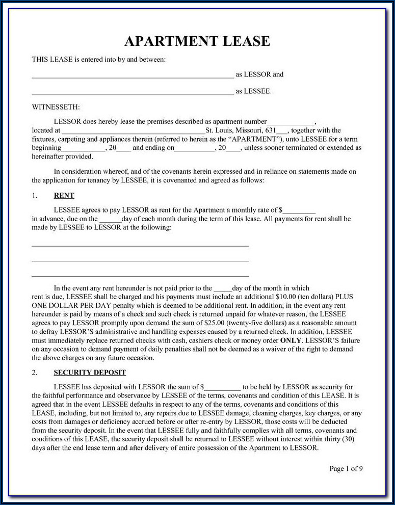 Free Printable Lease Forms Online