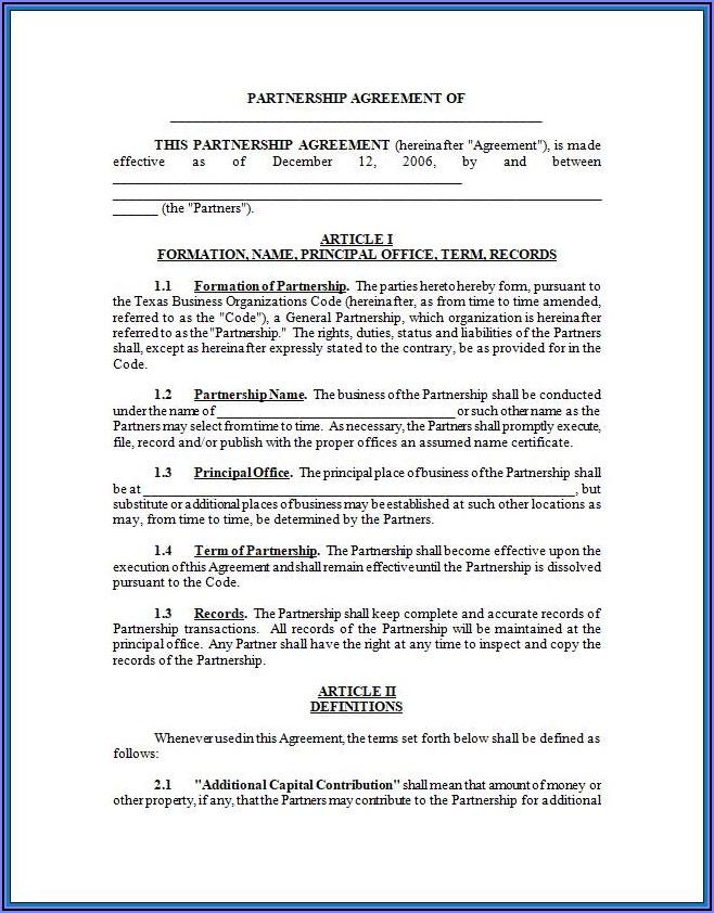 Free Printable Partnership Agreement Template