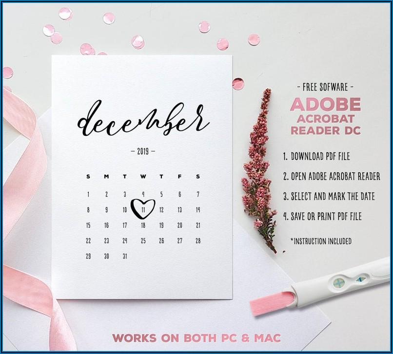 Free Printable Pregnancy Announcement Calendar 2019