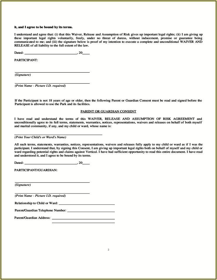 Free Printable Trampoline Waiver Form