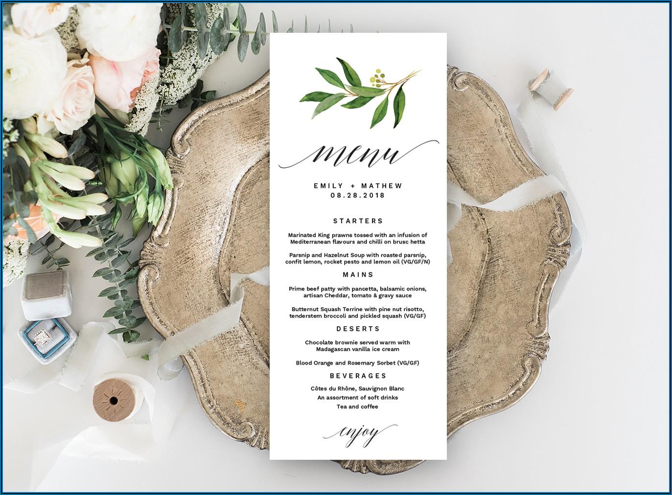 Free Printable Wedding Drink Menu Template