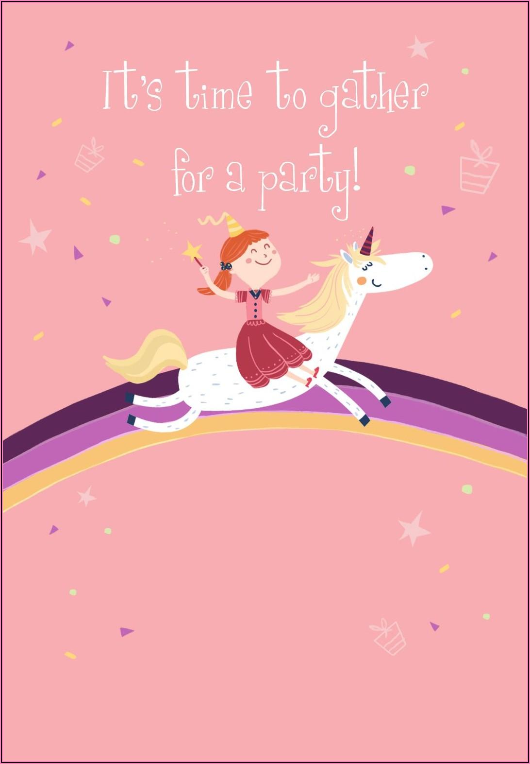 Free Unicorn Birthday Invitations Template