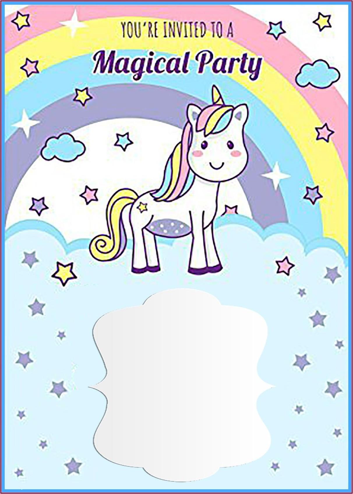 Free Unicorn First Birthday Invitation