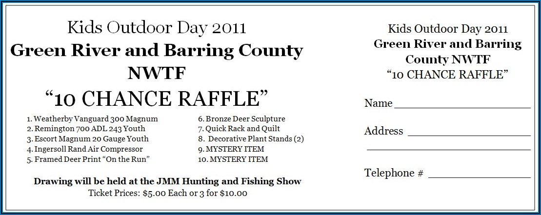 Free Word Template For Raffle Tickets