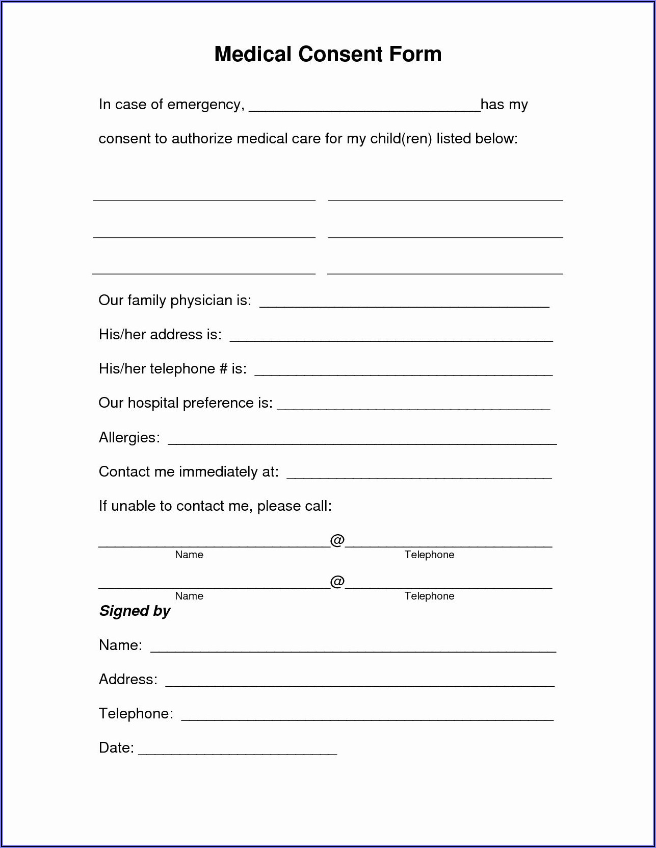 Health Care Authorization Form For Minor