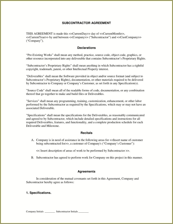 Hiring A Subcontractor Forms