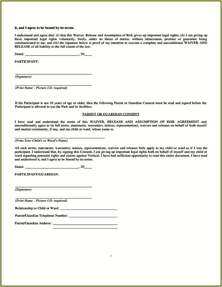 Homeowner Free Printable Trampoline Waiver Form