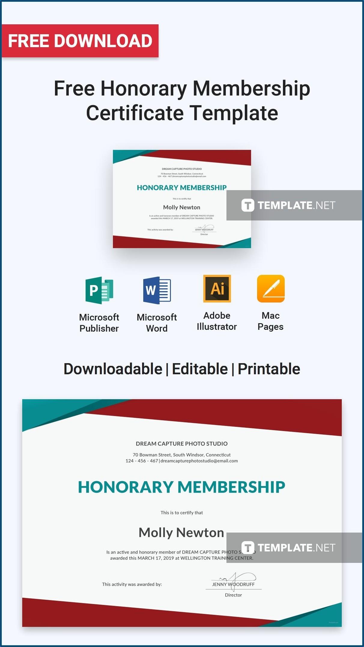 Honorary Membership Certificate Template Word