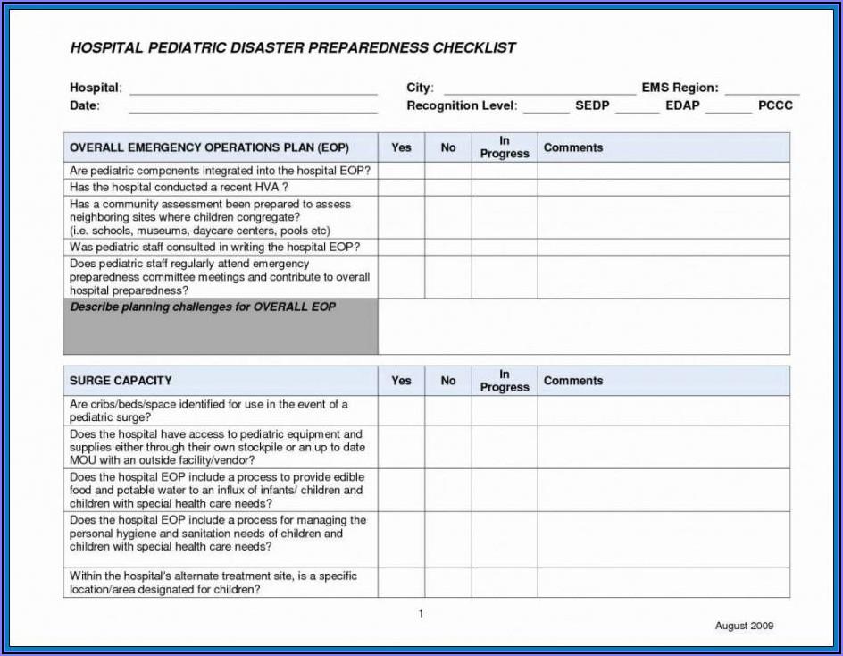 Hospital Business Continuity Plan Sample