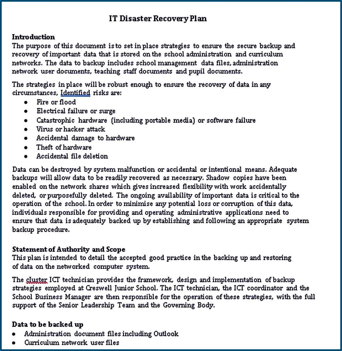 Hospital Disaster Recovery Plan Template