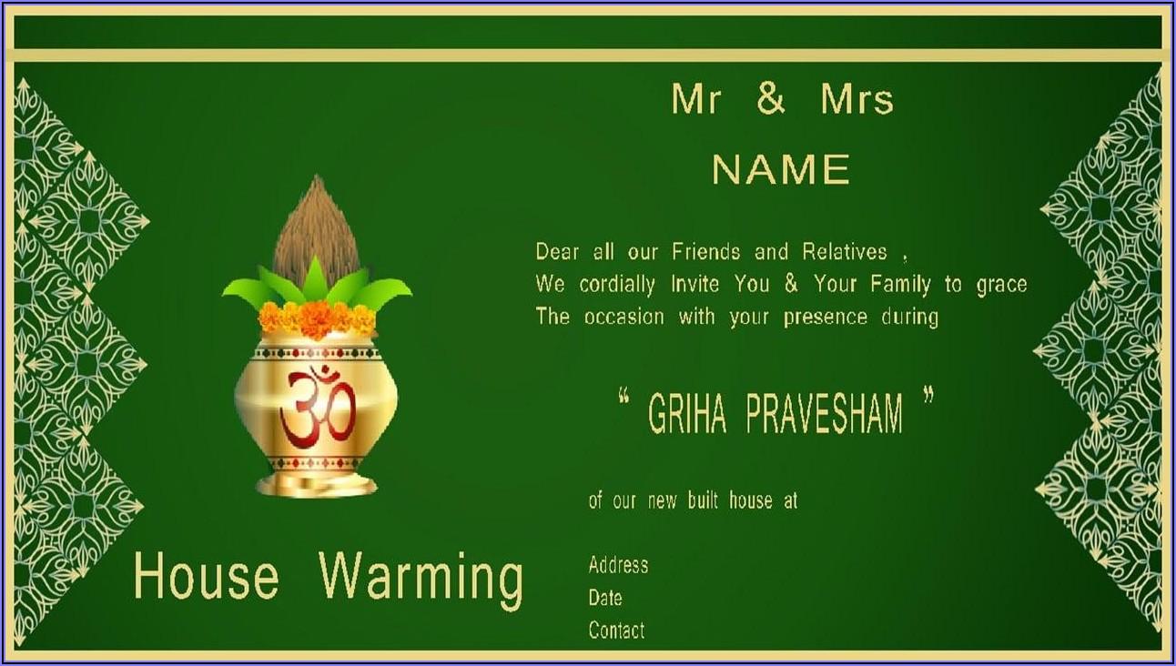 Housewarming Invitation Free Template India