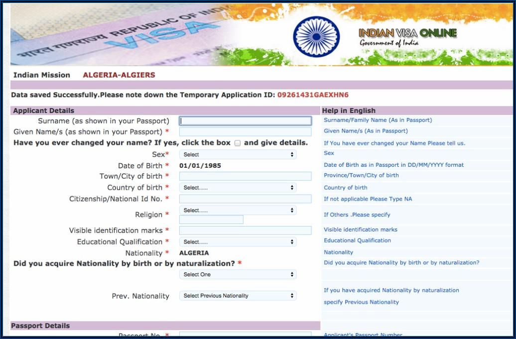 Indian Visa Application Form Online Uk