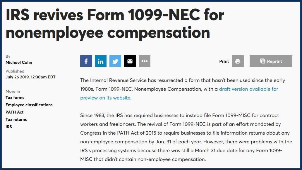 Internal Revenue Service Form 1099 Nec