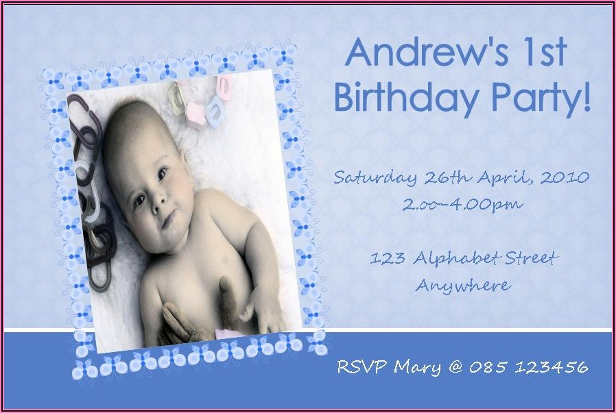 Invitation Card For 1st Birthday Party Of Baby Boy