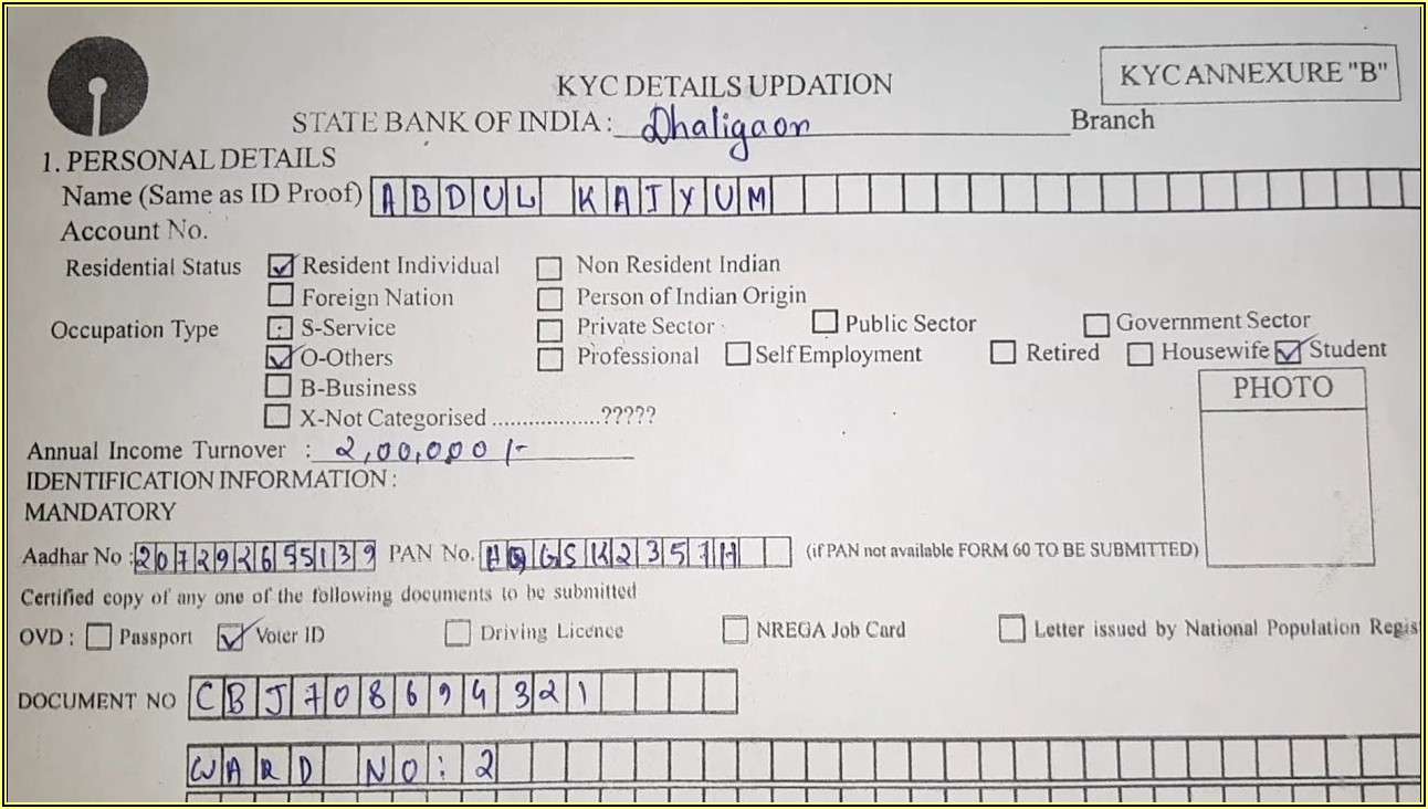 Kyc Application Form Sbi Bank
