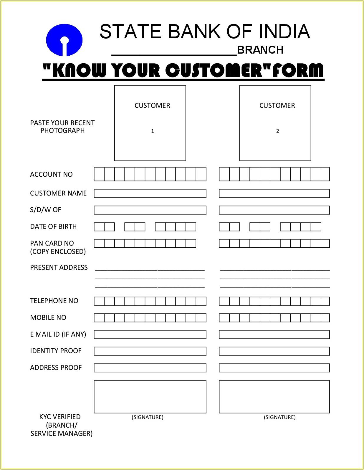 Kyc Application Form Sbi Pdf