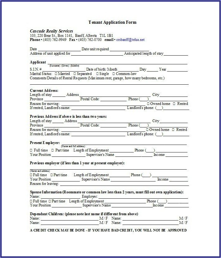 Landlord And Tenant Lease Agreement Form Alberta