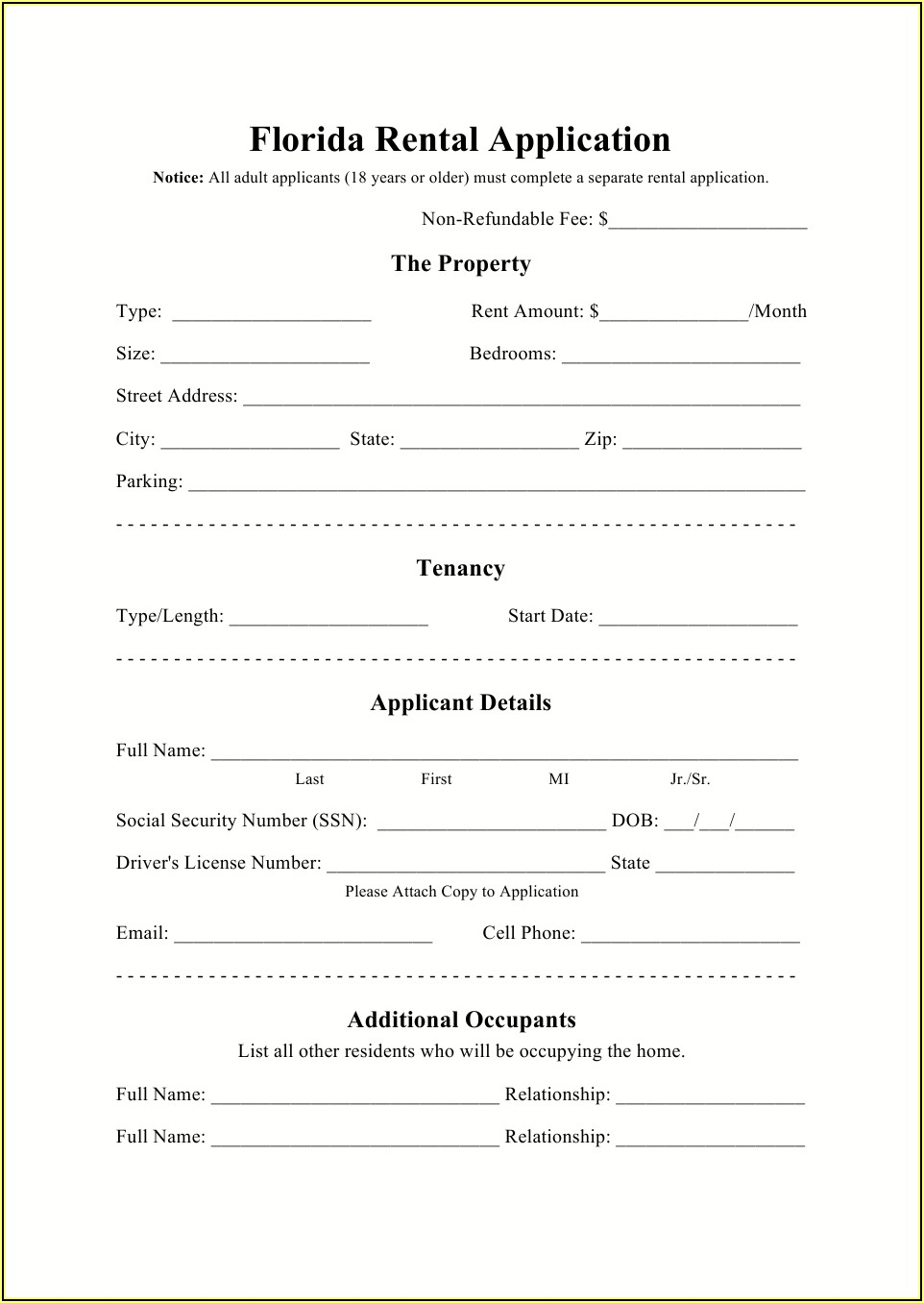 Landlord Application Forms For Tenants