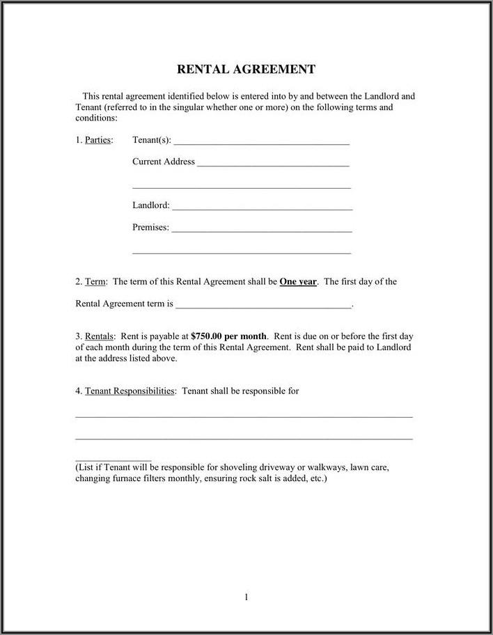 Landlord Tenant Rental Agreement Template