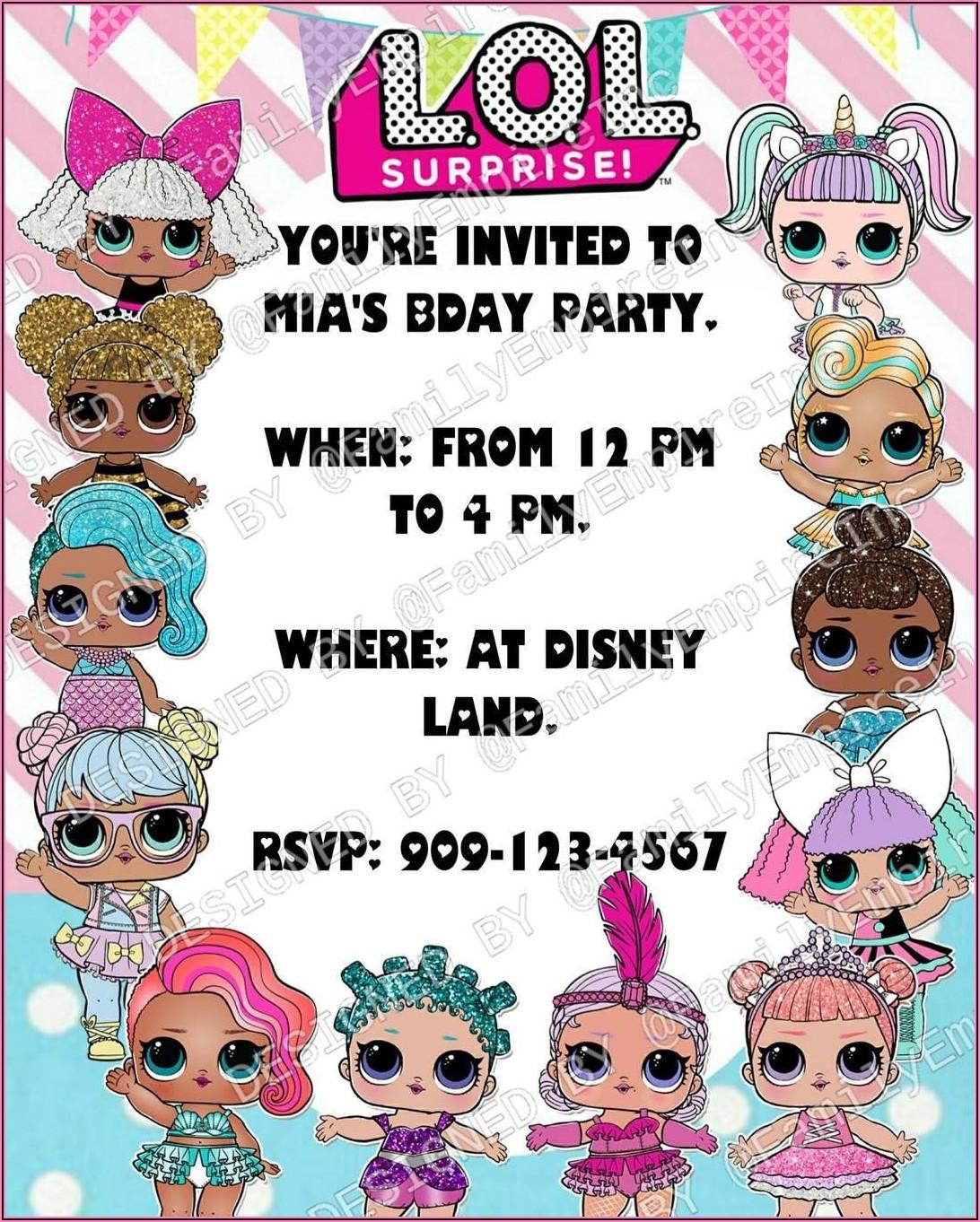 Lol Surprise Doll Birthday Invitations