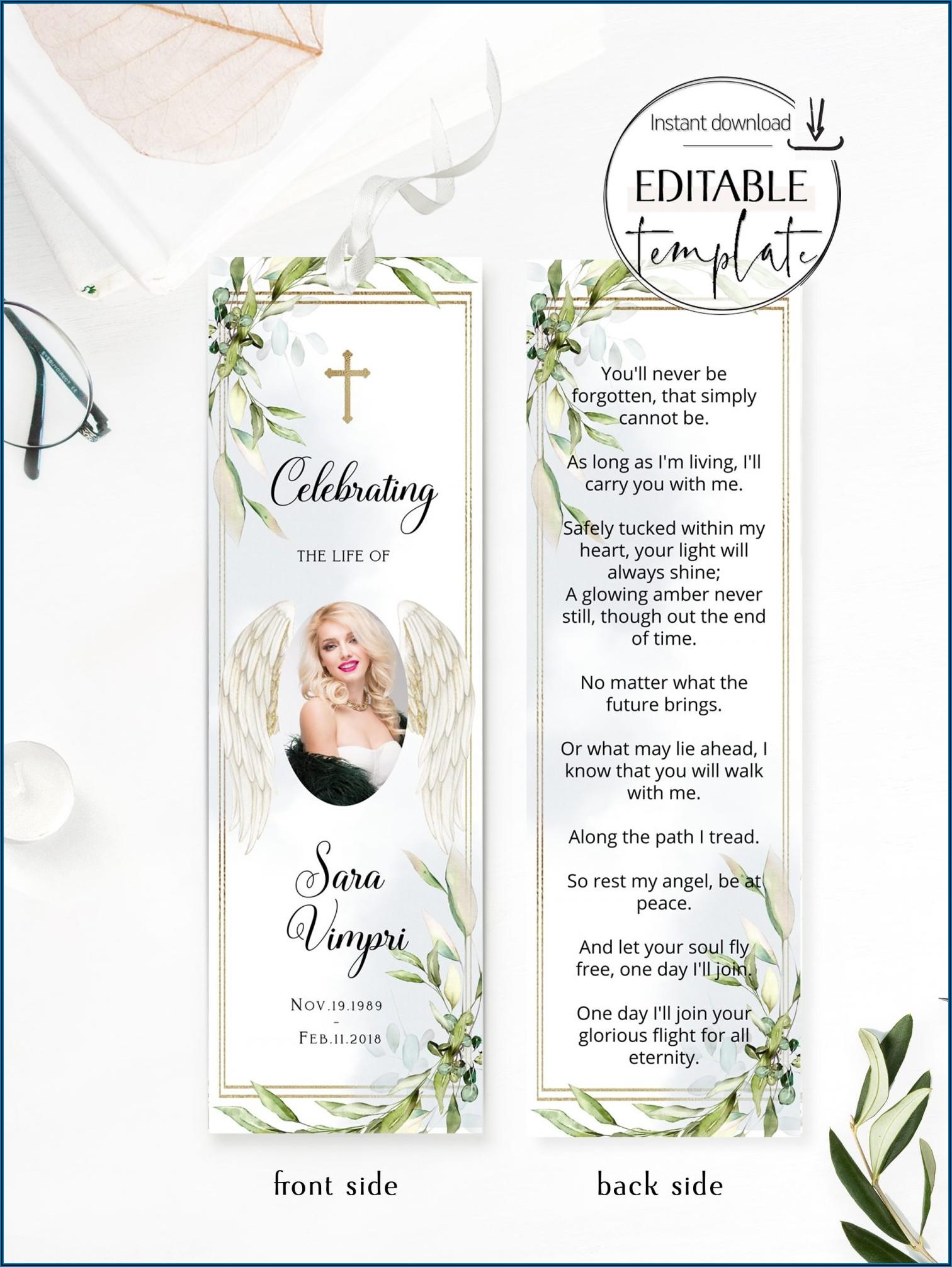 Memorial Bookmark Template Free