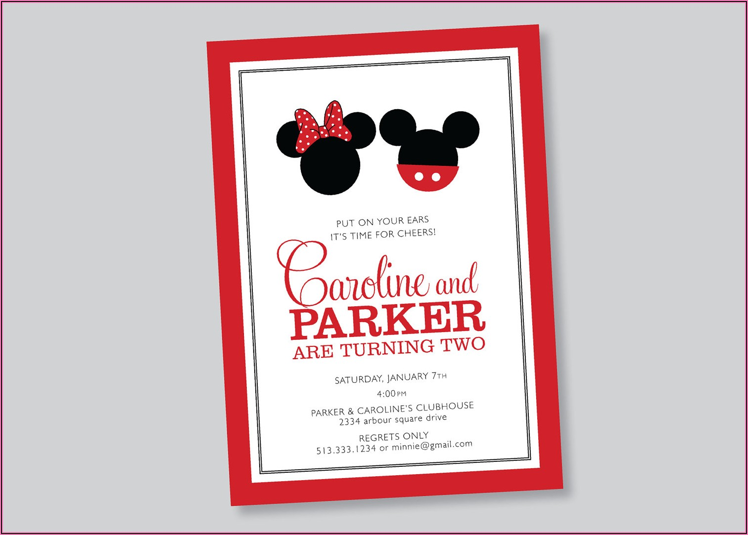 Mickey And Minnie Mouse Birthday Invitations