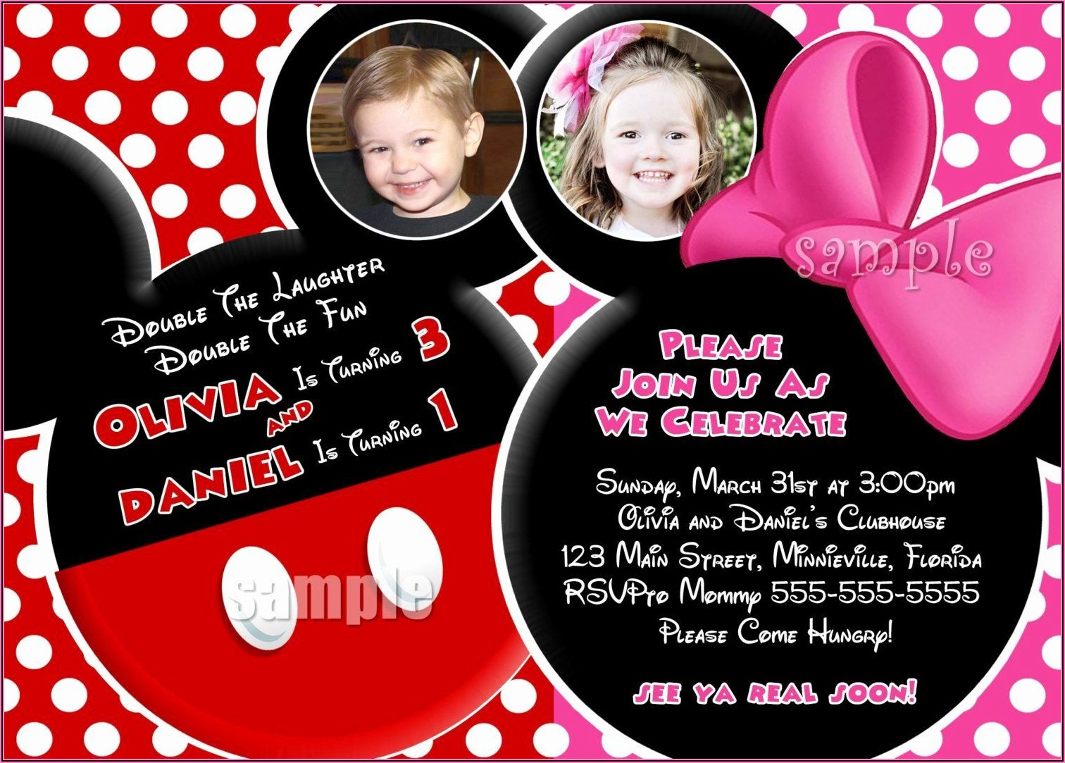 Mickey And Minnie Mouse Party Invitations