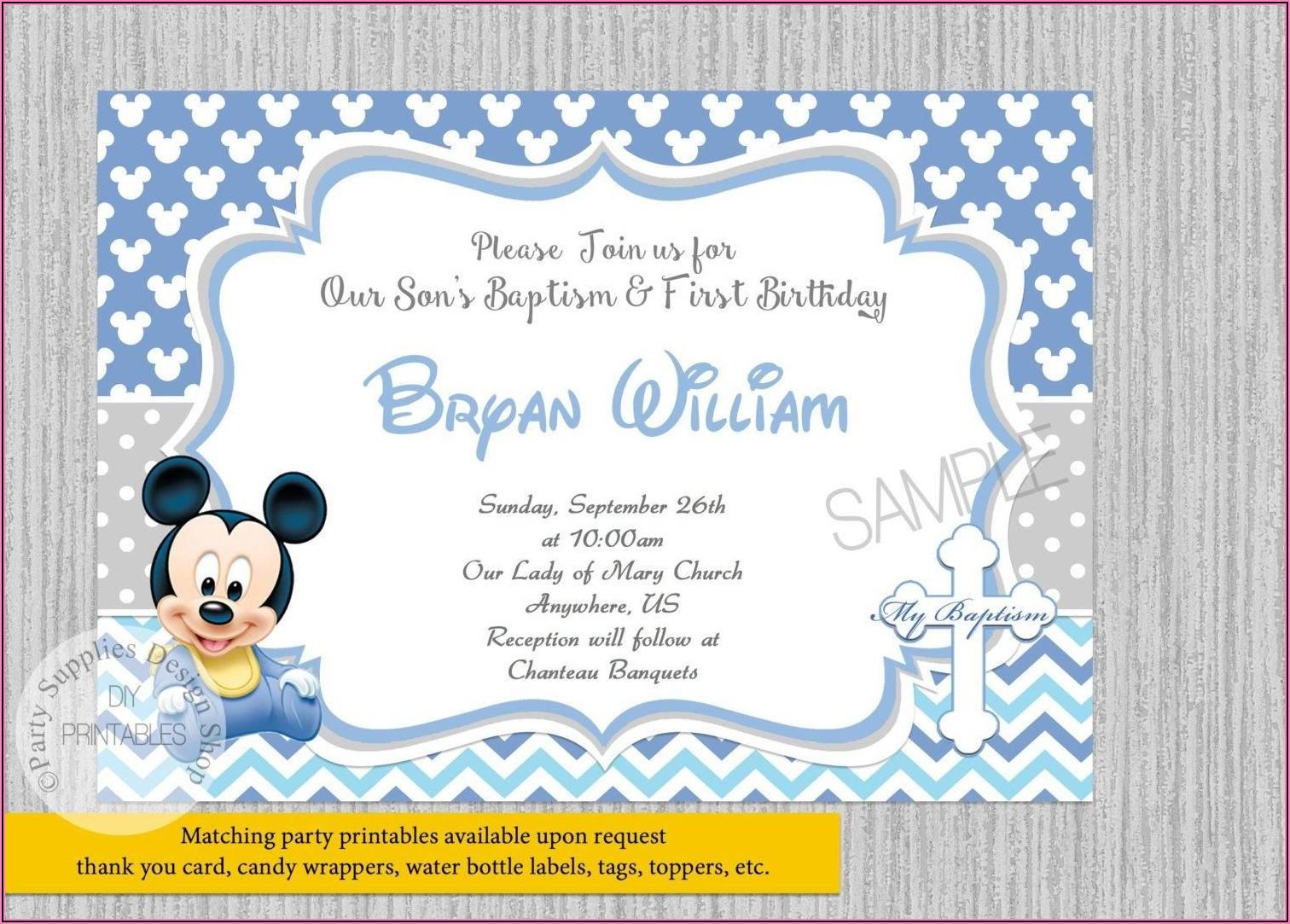 Mickey Minnie Mouse Birthday Invitations Template