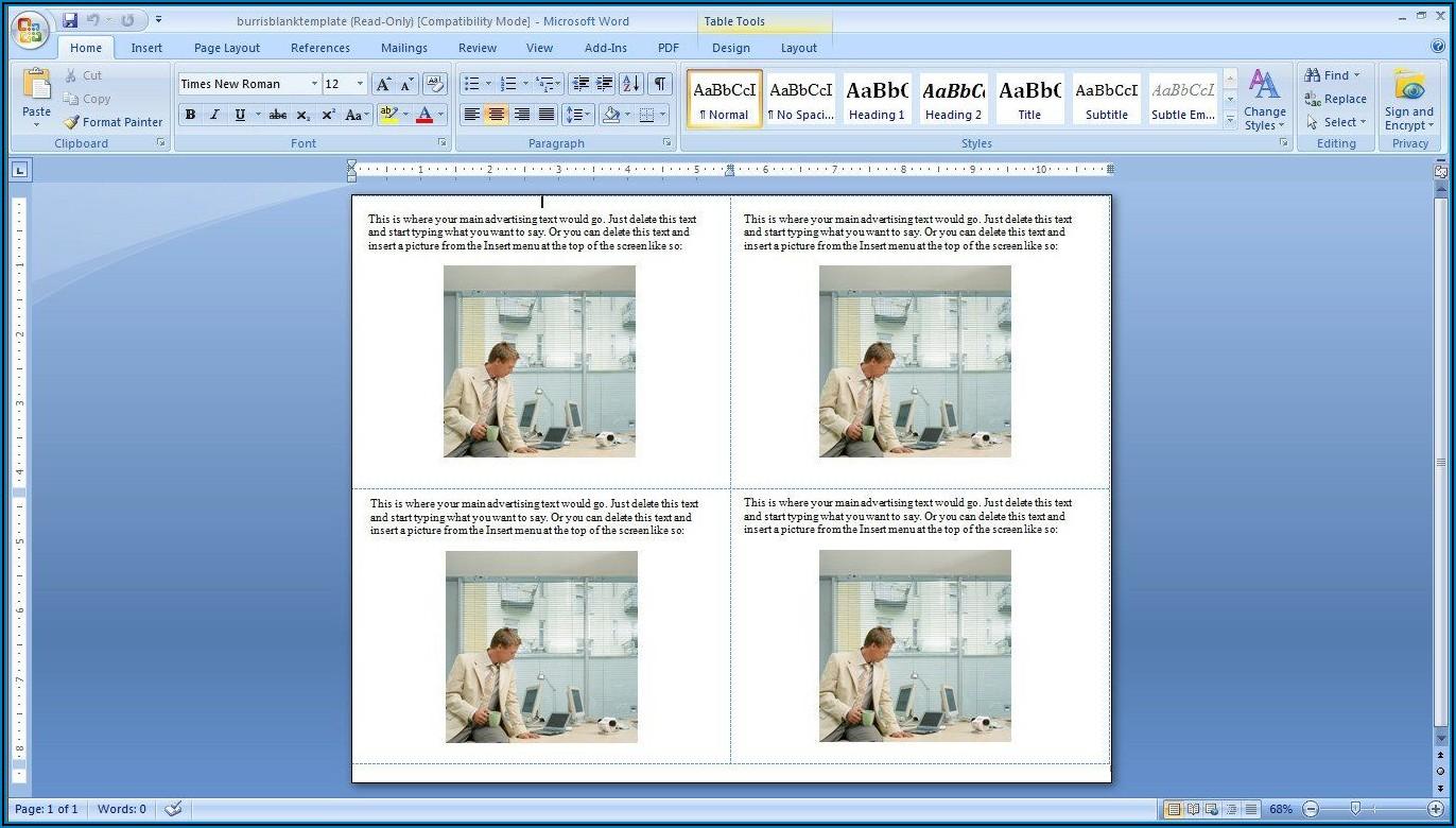 Microsoft Word Postcard Template 4 Per Page
