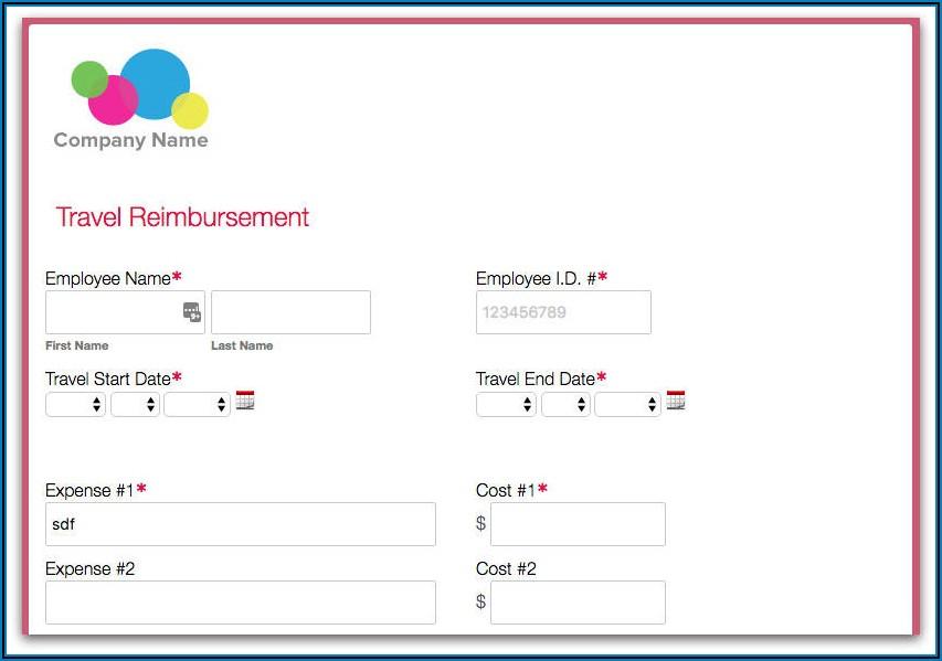 Mileage Reimbursement Form Example
